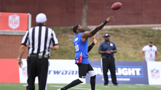Dennis Dixon Catches Passes From Jerrod Johnson In Flag Football Game On NFL Network
