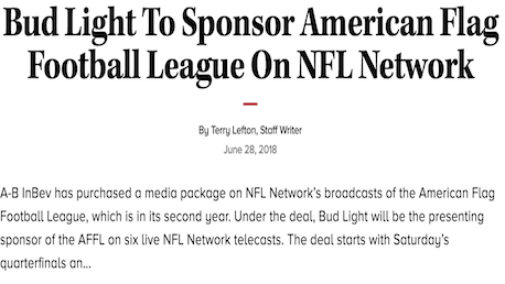 Bud Light To Sponsor American Flag Football League On NFL Network