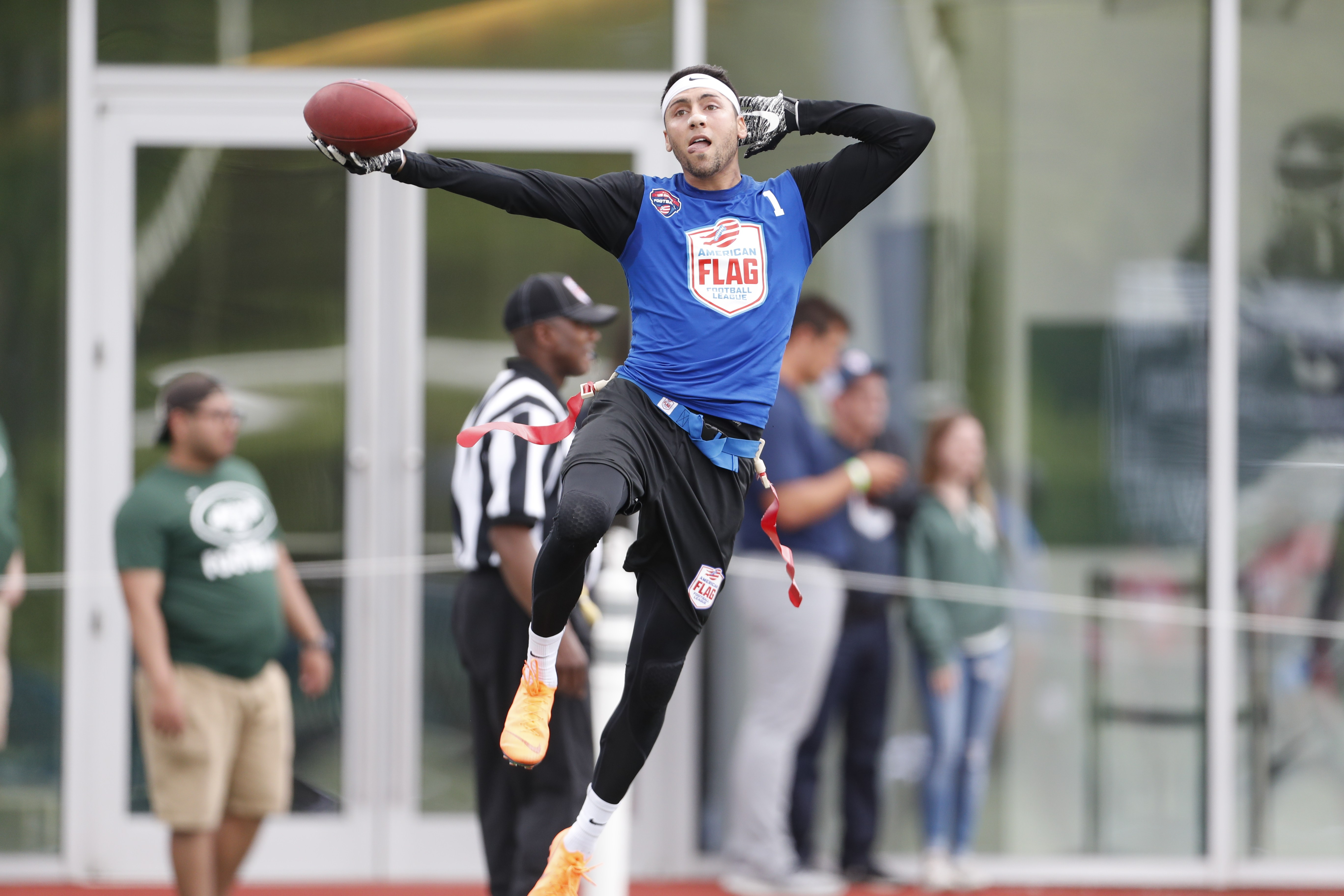 ... Sunday, May 20, 2018 in Florham Park, N.J. (Adam Hunger/AP Images for American Flag Football League)