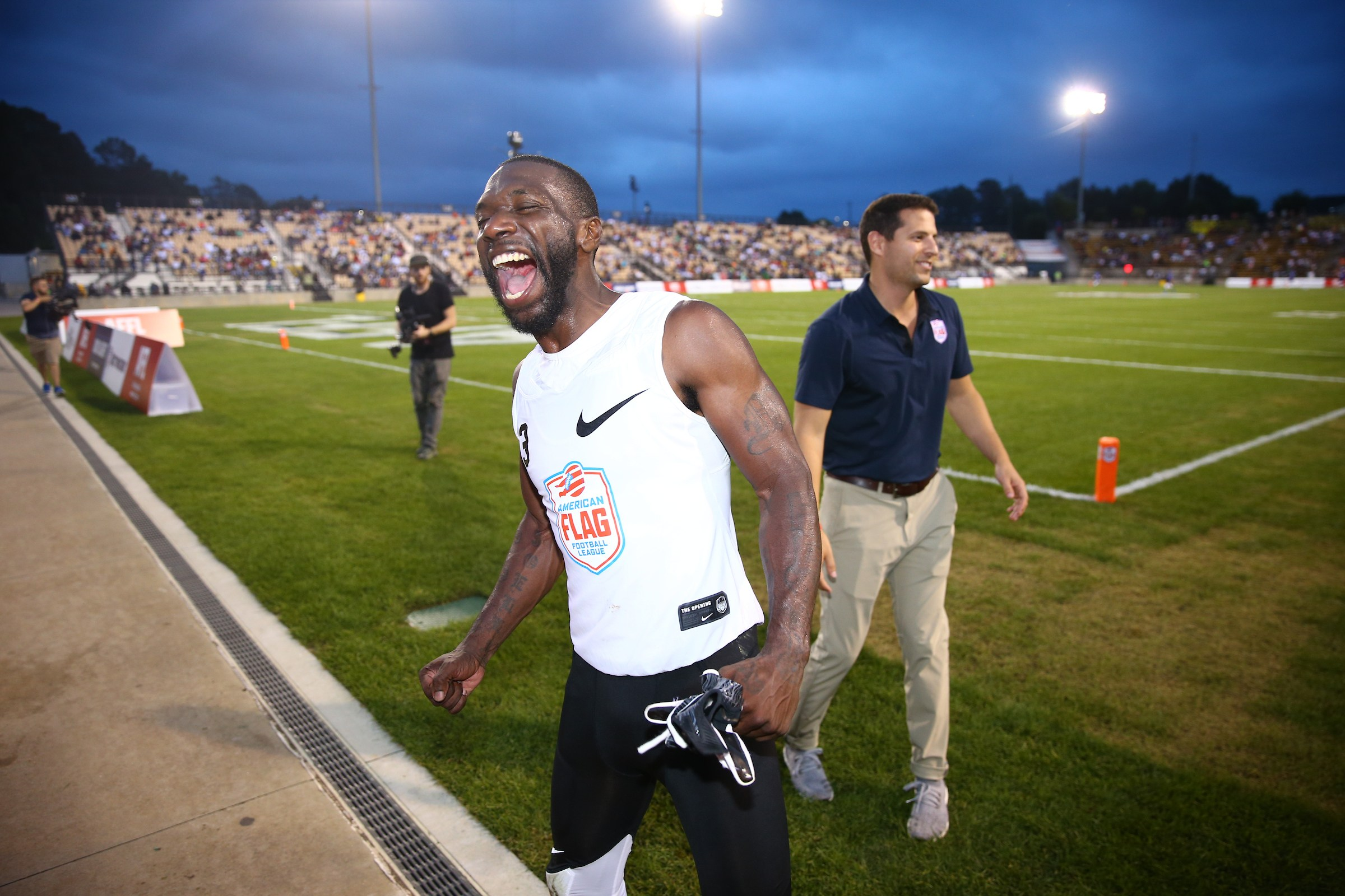 Fighting Cancer's Brandon McCray celebrates his team's win over Primetime at the American Flag Football League (AFFL) U.S. Open of Football tournament, Saturday, July 7, 2018 in Kennesaw, Ga. (Kevin D. Liles/AP Images for American Flag Football League)