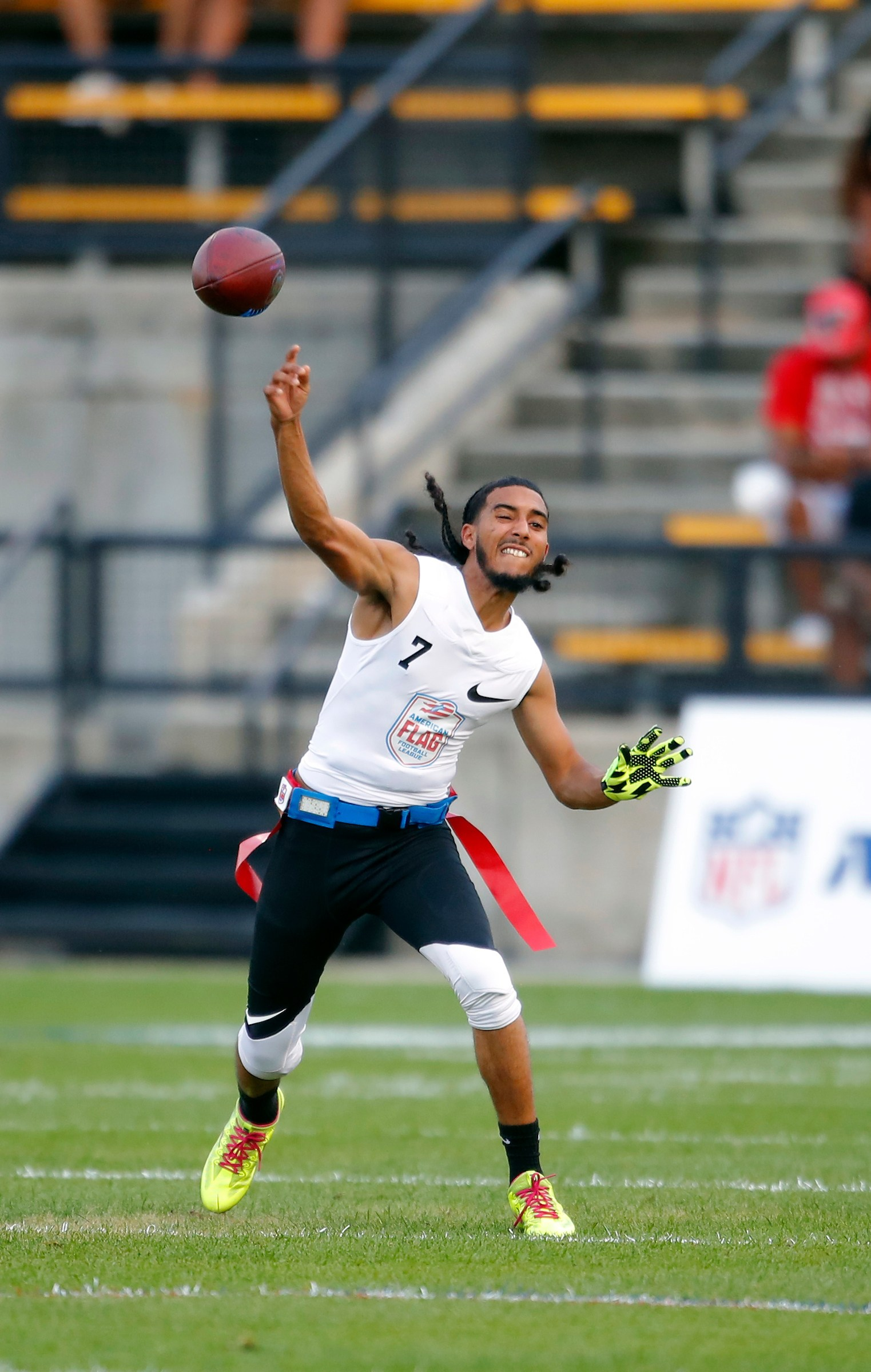 Fighting Cancer's Darrell Doucette passes during a semifinal round game against Primetime at the American Flag Football League (AFFL) U.S. Open of Football tournament, Saturday, July 7, 2018 in Kennesaw, Ga. (Todd Kirkland/AP Images for American Flag Football League)