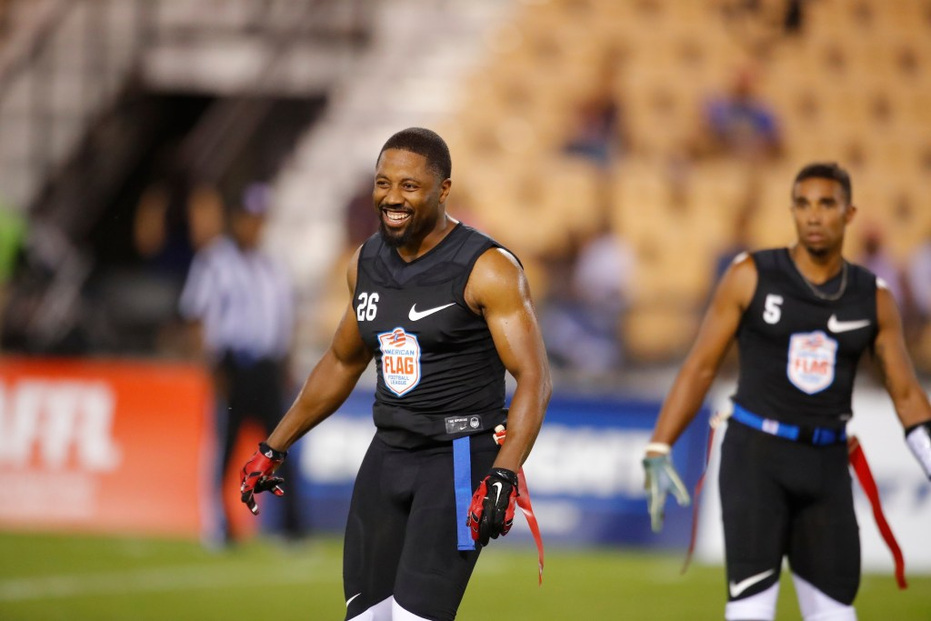 ...  the American Flag Football League (AFFL) U.S. Open of Football tournament, Sunday, July 8, 2018 in Kennesaw, Ga. (Todd Kirkland/AP Images for American Flag Football League)